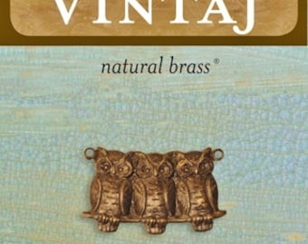 Vintaj Natural Brass 22x11.5mm Three Perched Owls (DP0017) 1 Piece
