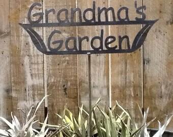 SHIP NOW - Grandma's Garden Sign - Metal outdoor sign