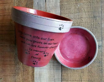 Dog Sympathy Gift - Cat Sympathy Gift - Pet Memorial Gift - Painted Flower Pot - Large Planter - Pet Sympathy Gift