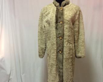 Early 1960's Borg Teddy Bear Faux Fur Coat