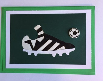 Soccer Cleat and Ball all occasion greeting card in iris folding