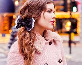 Black Velvet Hair Bow, Black Hair Bow Clip, Velvet Hair Accessory