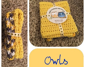 Crocheted Dishcloths-Owls