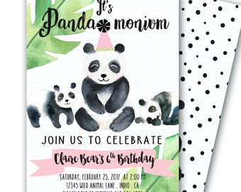 Panda Invitation Panda Party 5x7 Printable Panda-monium Party like a Panda Birthday Panda Baby Shower Panda Bear Party Panda Bear Birthday