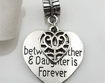 "3pcs-2 in 1-""The love between Mother & daughter is forever"" w/ bail -Antique silver metal Charm pendant beads"