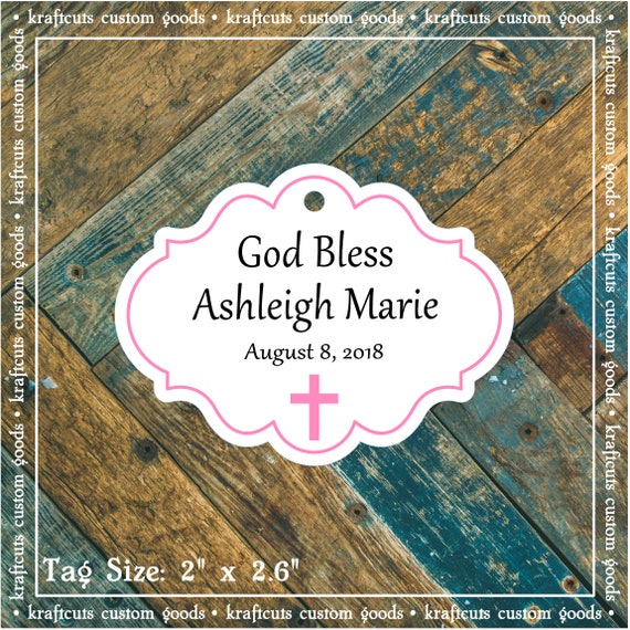 Personalized Baptism, Christening or First Communion God Bless Religious Favor Tags - Baby Girl Pink Border #781 - Quantity: 30 Tags