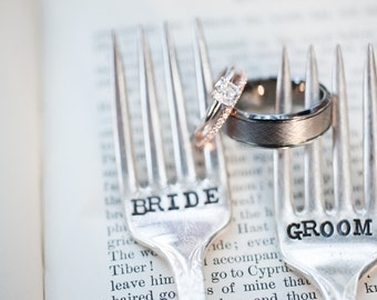 Bride & Groom Wedding Cake Fork Set - Hand Stamped - Vintage Wedding - Wedding Details, Vintage, Decor