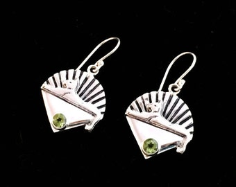 Cats Earrings Cast in Sterling Silver with Faceted Peridot by 100mics