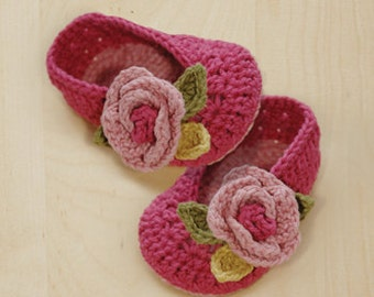 Crochet Pattern - Secret Garden Ballerina Baby Booties Preemie Socks Flower Shoes Ballerina Baby Slippers Rose Applique (SGB01-P-PAT)