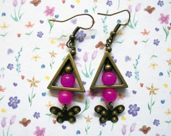 Hot Pink and Brass Butterfly Earrings (2527)