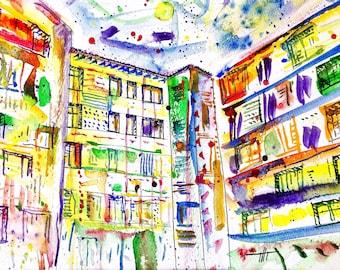 Colorful modern art print of watercolor painting Colorful City, contemporary art print colorful watercolor print colorful art city print
