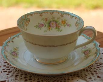 NORITAKE Porcelain Teacup and Saucer Set