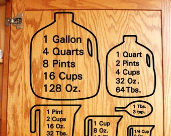 Conversion measure chart, conversion chart, vinyl measure chart, kitchen measuring chart, measuring cup chart, kitchen door decal