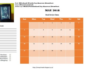 Digital Book Blogging Calendar May 2018