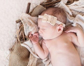 Analise - Gold Silver Cream - Ruffle Rhinestone Headband - Metallic Lace - Baby Infant Newborn Girls Adults - Photo Prop