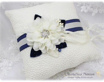 READY TO SHIP Wedding Ring Pillow Bridal Lace Ring Pillow Custom Jewelled Brooch Bearer Pillow Beaded Flower Pillow in Ivory and Navy Blue
