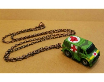 Vintage upcycled micro machine toy necklace- 80s army medic van