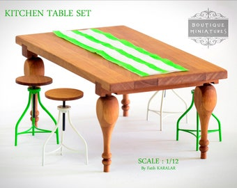 Miniature Kitchen Table. Dollhouse  Furniture, 1:12 Scale , Oneinch, Dining, Garden Coffee Table, Dollhouse Table. Modern Miniature Desk
