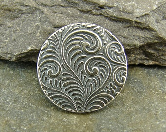 Spiraling Vine - Handmade Sterling Silver Shank Button - Perfect For Leather Wrap Bracelets - Artisan Sterling Silver Findings - sbsv