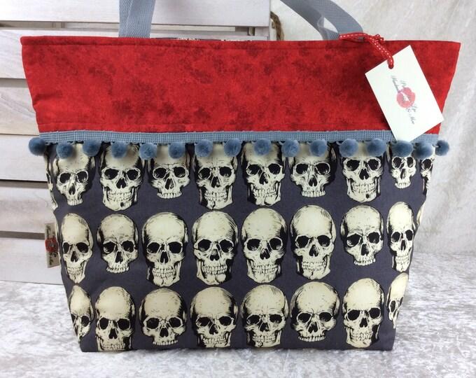 Handmade Beach tote shoulder bag Pom Pom shopping day bag purse fabric shopper Alexander Henry Gothic Rad Skulls