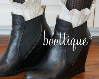 CLOSEOUT!  Ankle Boot Cuffs:  Cable Knit & Lace Accessories for Ankle Boots, Midi Boots, Boot Socks, Boot Cuffs