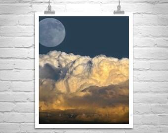 Moon Art, Desert Sky Art, Storm Photography, Moonrise Picture, Arizona Gift, Thunderstorm Art, Arizona Monsoon, Tucson Gift, Sky and Clouds