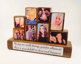 Photo Stacking Blocks - Mother's Day - Mum - Mother - No joy on earth brings greater pleasure, grandchildren, gift for mum, photo gift