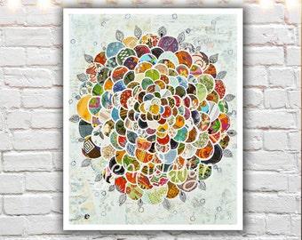 bohemian decor - boho decor - flower print - mixed media collage - art prints