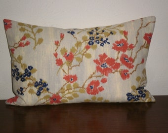 SALE..Free Domestic Shipping.. Decorative Pillow Covers - 12 X 18 inch Asian Influence Floral Blossom