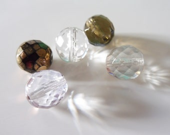 """5 oval faceted glass beads 12 x 10 mm """"assortment1"""""""