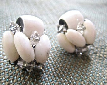 50s 60s White Milk Glass Crystal Clip On Earrings Vintage Mad Men Bead Button Style