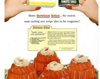 1953 Jello Hunts Tomato Aspic Advertisement Print Poster Ad Restaurant Diner Kitchen Dining Room Culinary Gourmet Bar Wall Art Home Decor