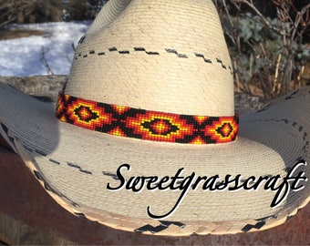 Beaded Large Hat band -hatband- Native American Beaded Cowboy Hat band - Western wear- Rodeo wear