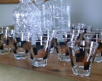 Mid Century Modern Atomic Starburst Double Shot Cordial Glasses - Set of 13 - Black and Gold Vintage Retro MCM Barware - 1950's-1960's