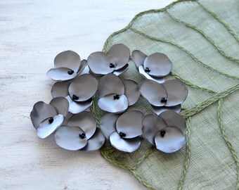 Hydrangea Blossoms- Fabric flowers, satin sew on flower appliques, floral embellishments for crafts, grey fabric flowers bulk (10 pcs)- GRAY