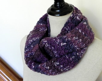 Crochet infinity scarf in shades of purple, crocheted cowl scarf (483) is ready to ship
