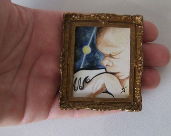 Original Miniature Painting, Oil Miniature Painting with Gold Frame, Handmade Small Painting for Dollhouse, Newborn Baby Painting