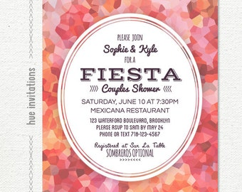 couples shower invitation, fiesta bridal shower invitation, red pink coral watercolor, printable bridal shower invite, geometric 5x7 408