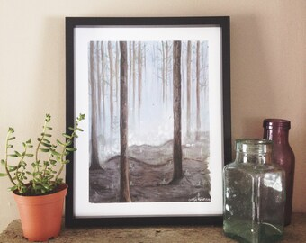 Forest Print, Misty Woods, Foggy Forest, Forest Painting, Woods Print, Woodland Art, Fog Print, Landscape Painting, Nature Art, Nature Print
