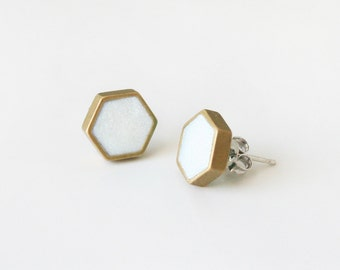 Crystal white hexagon stud earring