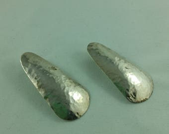 Vintage Hand-Crafted Sterling Silver Hammered Stud Earrings