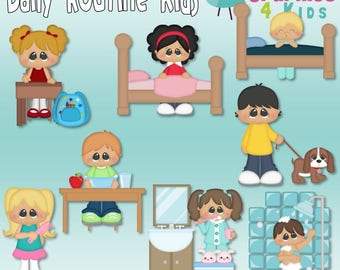 Daily Routine Kids Digital Clipart - Clip art for scrapbooking, party invitations - Instant Download Clipart Commercial Use