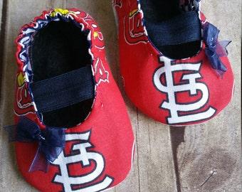 St Louis Cardinals Inspired Baby Maryjane Booties