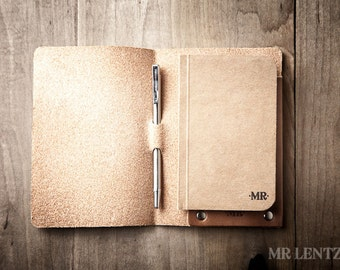 Leather Notebook Cover and Pen, Leather Travel Notes, Pocket Leather notebook, Leather mini journal cover Mini 022