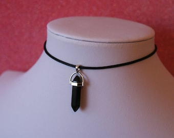 Black Onyx Choker Necklace | Stone Pendant Charm Choker Necklace | Leather Or Satin Silk Cord | Bullet Shaped Quartz Pendant