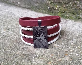 bracelet 3 tours avec plaque en acier à graver
