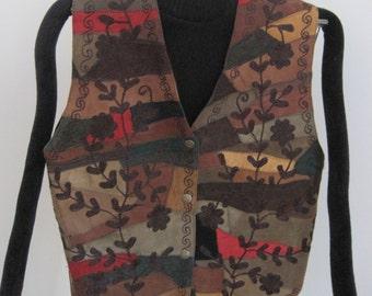VEST, Suede Patchwork, Machine Embroidered Floral Design, Vintage