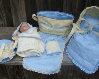 "Baby Doll Bassinet, Diaper Bag, Carrier and Bath set for Bitty Baby or 15"" dolls"