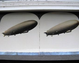 Keystone Stereoview German Blimp, dirigible, ZEPPELIN in flight Stereoview Photo,Keystone #17398