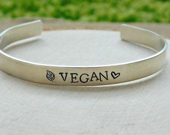 Custom Sterling Silver Vegan Cuff Bracelet Vegan Gift Jewelry Christmas Birthday Veg Anniversary Vegetarian Inspirational Healthy Motivation